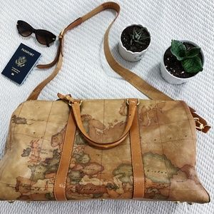 Vintage Leather World Map Weekender Bag